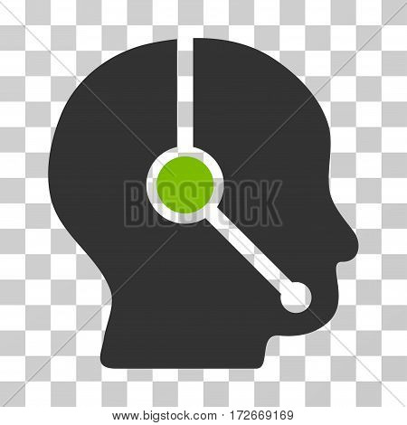 Call Center Operator icon. Vector illustration style is flat iconic bicolor symbol eco green and gray colors transparent background. Designed for web and software interfaces.