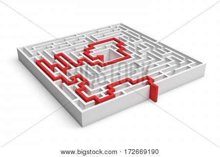 3d rendering of a white square maze with a red arrowed line showing the solution on white background. Mazes and labyrinths. Secrets and puzzles. Problems and solutions.