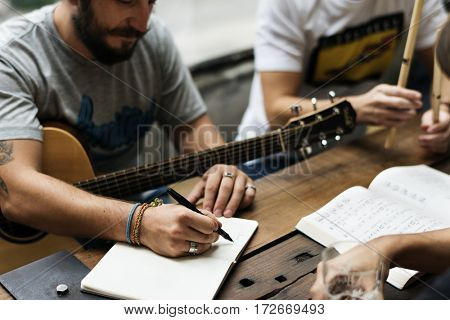 Men Play Guitar Write Song Music Rehearsal