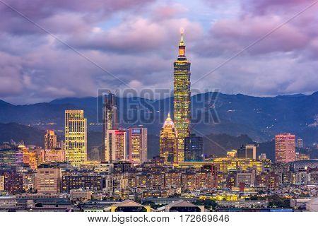 Taipei, Taiwan downtown skyline.