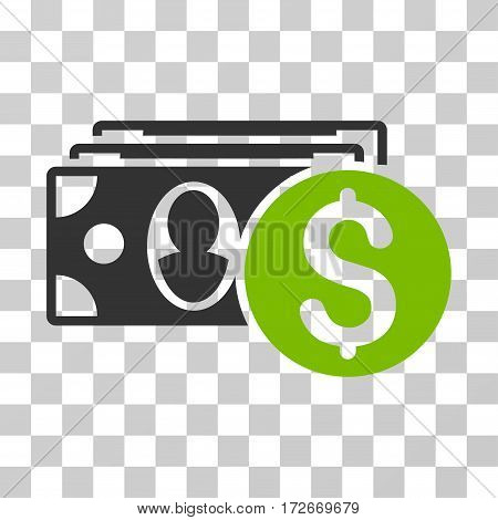 Cash icon. Vector illustration style is flat iconic bicolor symbol eco green and gray colors transparent background. Designed for web and software interfaces.