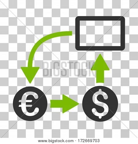 Cashflow Euro Exchange icon. Vector illustration style is flat iconic bicolor symbol eco green and gray colors transparent background. Designed for web and software interfaces.