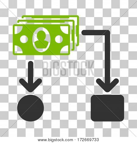 Cashflow icon. Vector illustration style is flat iconic bicolor symbol eco green and gray colors transparent background. Designed for web and software interfaces.