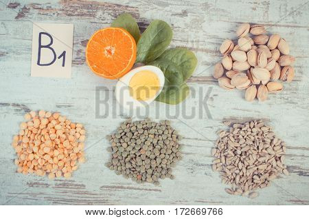 Vintage Photo, Products And Ingredients Containing Vitamin B1 And Dietary Fiber, Healthy Nutrition