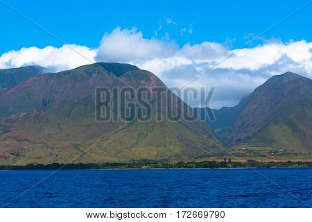 Mountains on the west side of Maui seen from the Pacific ocean