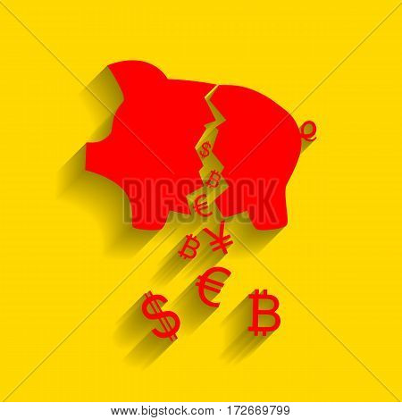 Pig money bank sign. Vector. Red icon with soft shadow on golden background.