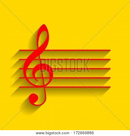 Music violin clef sign. G-clef. Vector. Red icon with soft shadow on golden background.