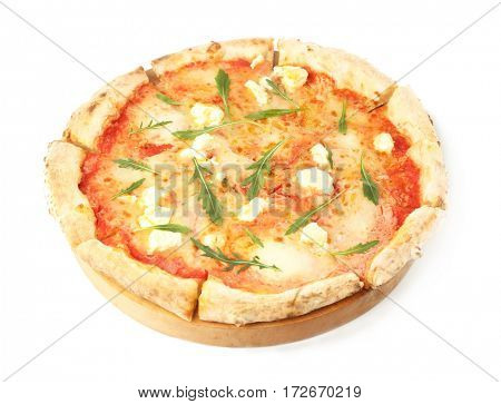 Fresh pizza Four Cheese isolated on white