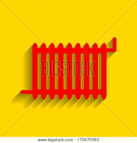 Radiator sign. Vector. Red icon with soft shadow on golden background.