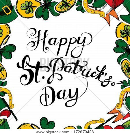 St Patrick's Day greeting card. Hand drawn vector illustration with shamrock clover Irish flag golden coins green hat. Ireland symbol pattern. Irish decor for your design. Lettering.