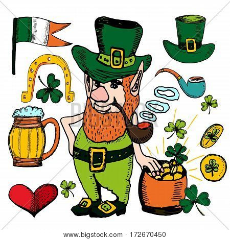 St Patrick's Day hand drawn set. Vector illustration with shamrock clover Irish flag golden coins leprechaun irish beer green ribbon. Ireland symbols. Irish decor for your design. Lettering.