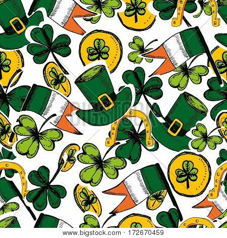 St Patrick's Day seamless pattern. Hand drawn vector illustration with shamrock clover Irish flag golden coins green hat. Ireland symbol pattern. Irish decor for your design.