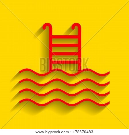 Swimming Pool sign. Vector. Red icon with soft shadow on golden background.