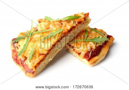 Pieces of fresh pizza Four Cheese isolated on white