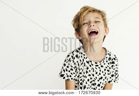 Caucasian Student Boy Portrait Shoot Face Expression Smiling on the White Background