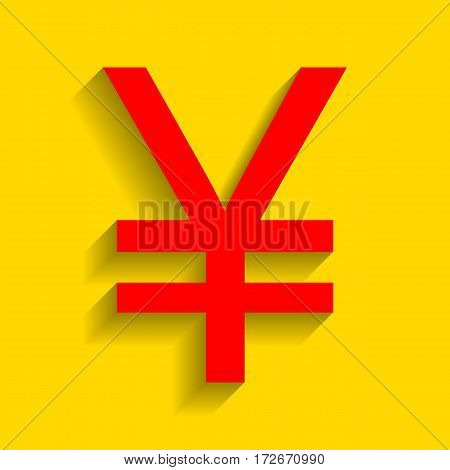 Yen sign. Vector. Red icon with soft shadow on golden background.