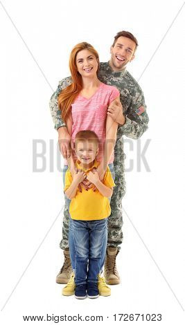 Soldier reunited with family on white background