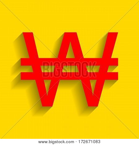 Won sign. Vector. Red icon with soft shadow on golden background.