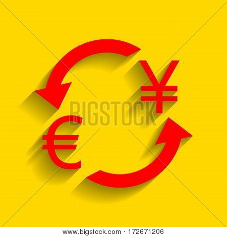Currency exchange sign. Euro and Japan Yen. Vector. Red icon with soft shadow on golden background.