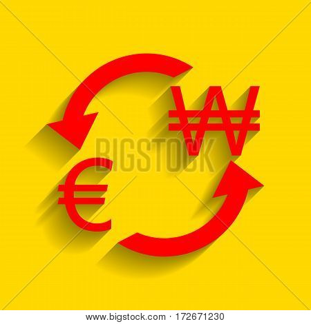 Currency exchange sign. Euro and South Korea Won. Vector. Red icon with soft shadow on golden background.