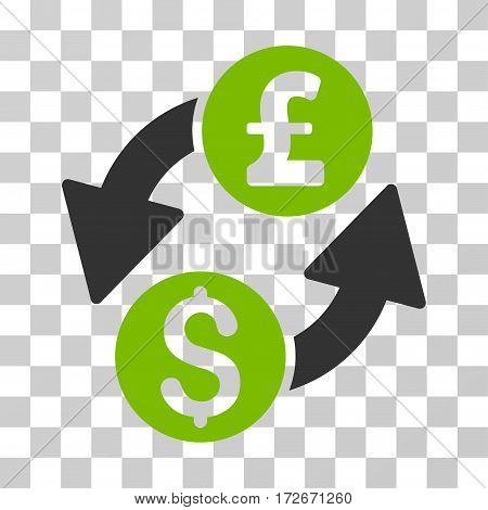 Dollar Pound Exchange icon. Vector illustration style is flat iconic bicolor symbol eco green and gray colors transparent background. Designed for web and software interfaces.