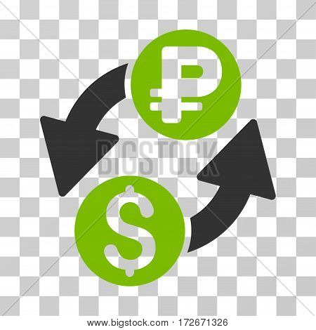 Dollar Rouble Exchange icon. Vector illustration style is flat iconic bicolor symbol eco green and gray colors transparent background. Designed for web and software interfaces.