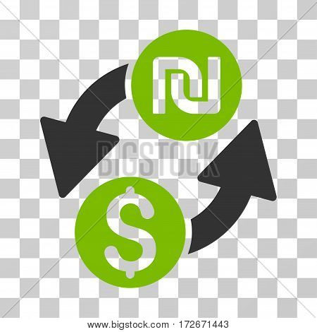 Dollar Shekel Exchange icon. Vector illustration style is flat iconic bicolor symbol eco green and gray colors transparent background. Designed for web and software interfaces.