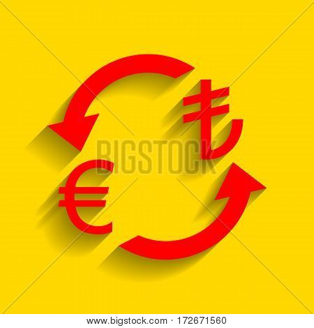 Currency exchange sign. Euro and Turkey Lira. Vector. Red icon with soft shadow on golden background.