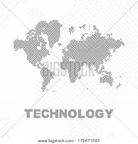 Global digital communications. Abstract world map flat vector illustration EPS 10