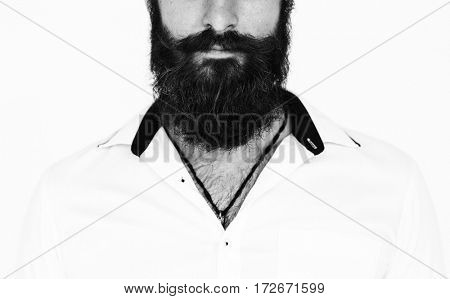 Beard Man Gesture Portrait Studio