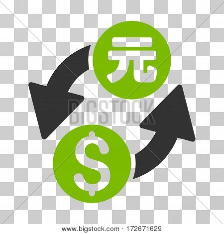 Dollar Yuan Exchange icon. Vector illustration style is flat iconic bicolor symbol eco green and gray colors transparent background. Designed for web and software interfaces.