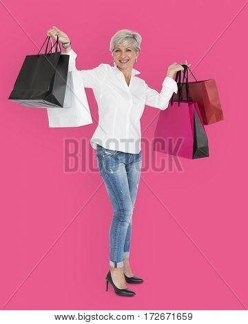 Woman Smiling Happiness Shopaholic Portrait