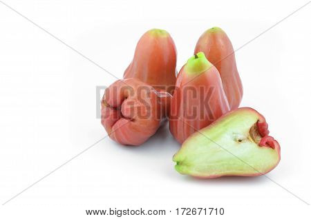 Rose apple summer fruit in thailand Placed on a white background.