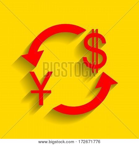 Currency exchange sign. China Yuan and US Dollar. Vector. Red icon with soft shadow on golden background.
