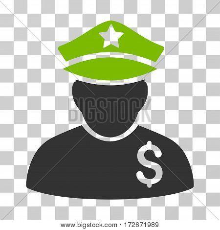 Financial Policeman icon. Vector illustration style is flat iconic bicolor symbol eco green and gray colors transparent background. Designed for web and software interfaces.