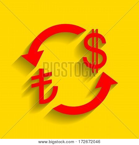 Currency exchange sign. Turkey Lira and US Dollar. Vector. Red icon with soft shadow on golden background.