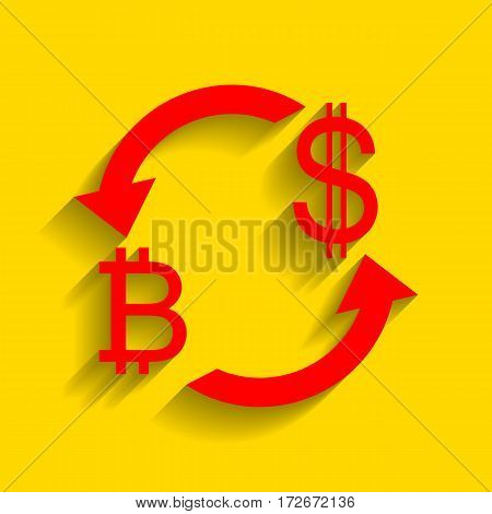 Currency exchange sign. Bitcoin and US Dollar. Vector. Red icon with soft shadow on golden background.