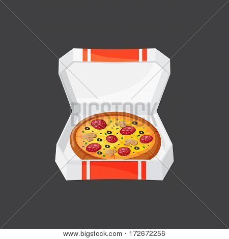 Hot fresh pizza box icon vector illustration. Food and drink element typographic design label or sticker bakery. Cooking cafe menu symbol with traditional lunch delicious.