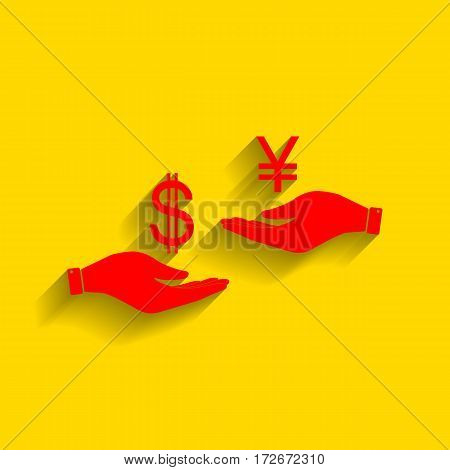 Currency exchange from hand to hand. Dollar and Yen. Vector. Red icon with soft shadow on golden background.