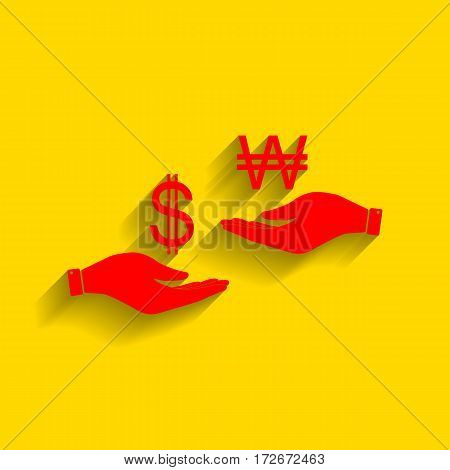 Currency exchange from hand to hand. Dollar and South Korea Won. Vector. Red icon with soft shadow on golden background.