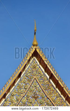 Roof of Thai temple Buddhism architecture with blue sky