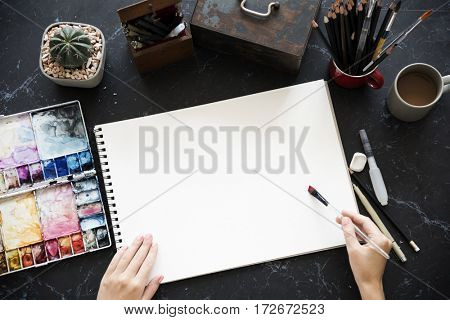 Artist Painting Colors Illustration Stationery On Table