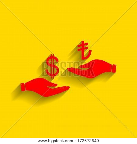 Currency exchange from hand to hand. Dollar and Turkey Lira. Vector. Red icon with soft shadow on golden background.