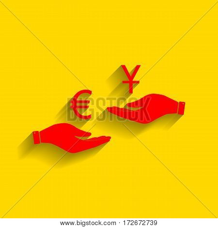 Currency exchange from hand to hand. Euro and Yuan. Vector. Red icon with soft shadow on golden background.
