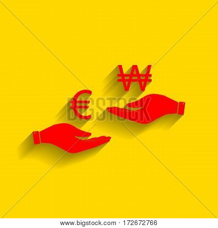 Currency exchange from hand to hand. Euro and Won. Vector. Red icon with soft shadow on golden background.