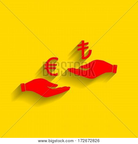 Currency exchange from hand to hand. Euro and Lira. Vector. Red icon with soft shadow on golden background.