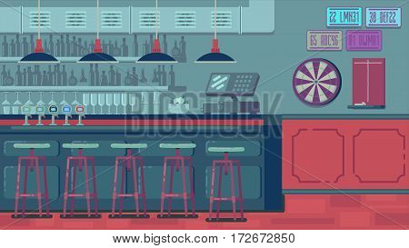 Bar Restaurant with counter in flat style. banner of interior with bar counter, bar chairs and shelves with alcohol.