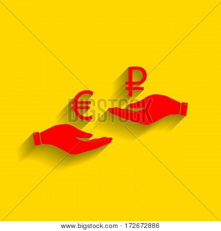 Currency exchange from hand to hand. Euro and Rouble. Vector. Red icon with soft shadow on golden background.