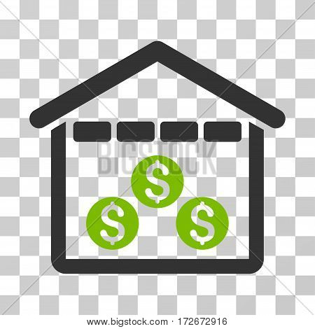 Money Depository icon. Vector illustration style is flat iconic bicolor symbol eco green and gray colors transparent background. Designed for web and software interfaces.