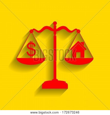 House and dollar symbol on scales. Vector. Red icon with soft shadow on golden background.